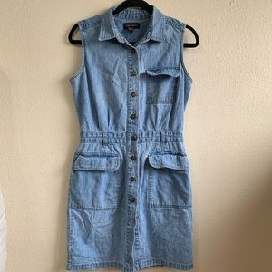 Denim button down dress with pockets #5
